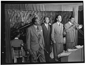 Eddie Barefield - Ben Webster, Eddie Barefield, Buck Clayton, Benny Morton, Famous Door NYC, ca October 1947. Photography by William P. Gottlieb