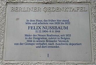 Felix Nussbaum - Plaque in front of former residence in Berlin-Wilmersdorf