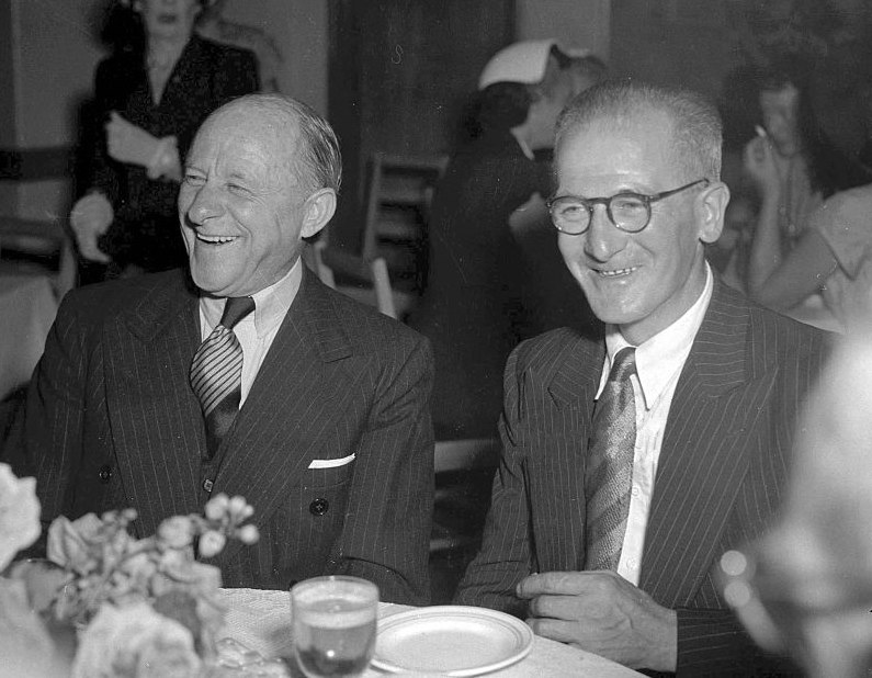 Bert Oldfield and Harold Larwood 1954