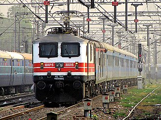 Express trains in India - Indian locomotive class WAP-5 hauling the second-fastest train of India, Bhopal Shatabdi Express, to New Delhi