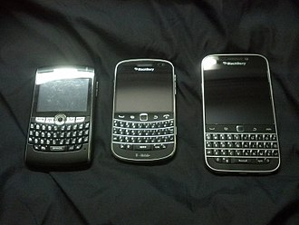 Smartphone - Several BlackBerry smartphones, which were highly popular in the mid-late 2000s.