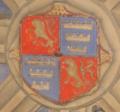 """Blason """"de ROUGET"""" 1559 clef de voûte chapelle ND de Pitié (chapelle sépulcrale de la famille) église de Villeneuve 12.png"""