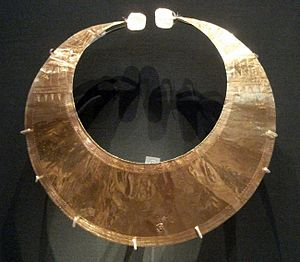 Gold working in the Bronze Age British Isles - A gold lunula, a type of ornament produced in the Bronze Age British Isles, especially Ireland. This example was found in Blessington, eastern Ireland.