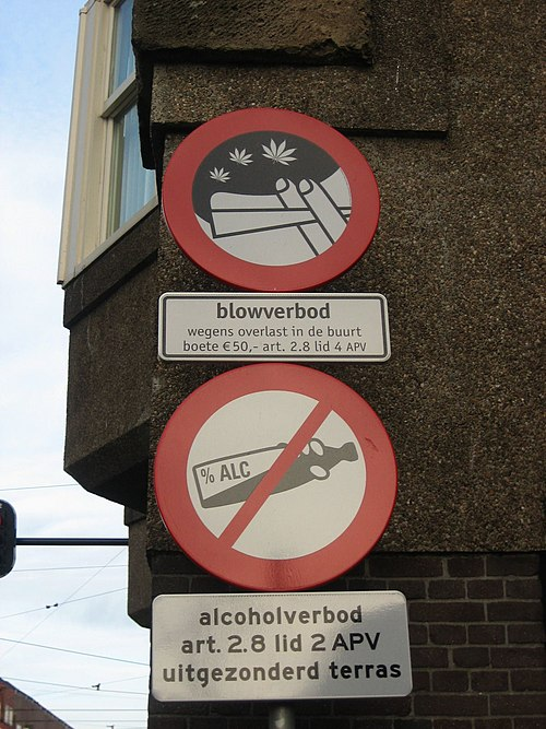 Signs in Amsterdam, indicating smoking cannabis and drinking alcohol are prohibited in this particular neighbourhood due to disturbances. Blowverbod.jpg