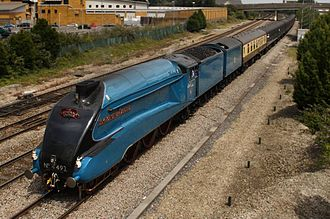 Cathedrals Express - A garter blue A4 arrives at Cardiff on a Steam Dreams Cathedrals Express