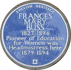 Stella Gibbons - Plaque honouring Frances Buss, on the wall of the Camden buildings of the North London Collegiate