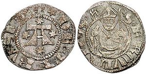 Herculanus of Perugia - Perugian coin of the 15th century (CNG Coins).  It depicts the half-length bust of St. Herculanus, holding a crozier.