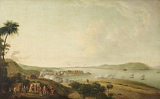 Invasion of Martinique (1762) - Image: Bombardement de la citadelle de la Martinique, janvier 1762