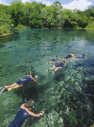 Bonito, Mato Grosso do Sul - People swimming in the river.