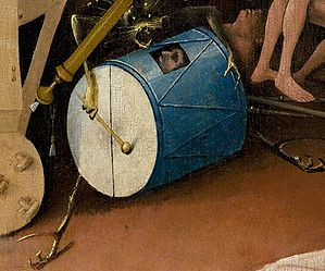 Bosch, Hieronymus - The Garden of Earthly Delights, right panel - Detail man in drum (lower left).jpg