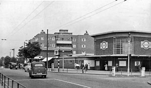 Bounds Green tube station - Station entrance viewing northwards in 1955, showing the unique octagonal station building.