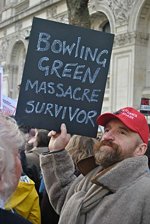 Bowling Green massacre - A protester in London on February 4, 2017