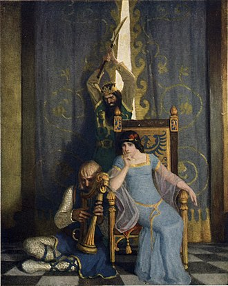 "Mark of Cornwall - A 1922 illustration by N. C. Wyeth   ""King Mark slew the noble knight Sir Tristram as he sat harping before his lady la Belle Isolde."""