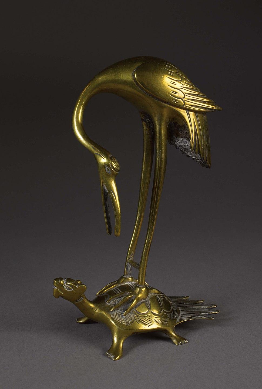 Brass Crane Perched on a Tortoise, c. 1800-1894