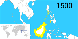 History of Sabah - The extent of the Bruneian Empire in the 15th century, under Sultan Bolkiah rule.