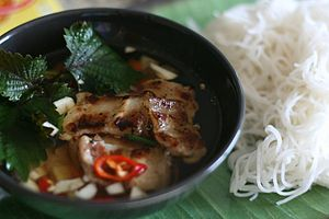 Vietnamese cuisine - Bun cha, a dish of grilled pork and noodle
