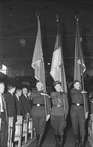 Kasernierte Volkspolizei - Standard-bearer of the Kasernierte Volkspolizei during an SED convention, 1954