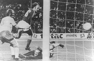 Ronnie Hellström - Ronnie Hellström is unsuccessful in trying to stop Grzegorz Lato's header in the game against Poland in the 1974 World Cup. Kent Karlsson is visible on the left.
