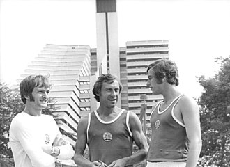 1976 Summer Olympics - East German athletes Hans-Georg Reimann, Karl-Heinz Müller and Waldemar Cierpinski at the Olympic Village