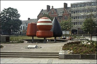 Shore Road, Belfast - Three buoys in a paved area between York and Donegall streets