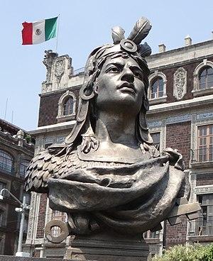 Cuauhtémoc - Bust of Cuauhtémoc in el Zócalo, Mexico City.