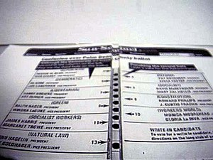"Ballot - Perspective view of the infamous 2000 Palm Beach County, Florida ""butterfly ballot""."