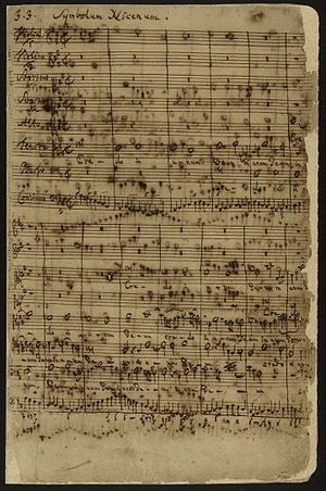Mass in B minor - Autograph of the first page of Symbolum Nicenum, beginning with the Gregorian chant Credo in the tenor