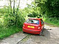 Byway with an abandoned Skoda, off Fosse Way, North Wraxall, Wiltshire.jpg