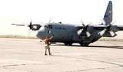 C-130 Hercules from the 136th Airlift Wing at Bagram Air Base