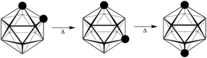 Carborane - Thermal rearrangement of o-dicarborane to its meta- and para-isomers (CH vertex indicated with black spheres).