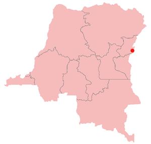 Rutshuru - Location of Rutshuru in the Democratic Republic of the Congo