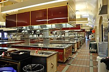 Rows of cooking stations in a large room