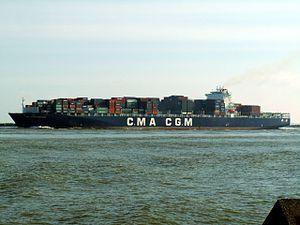 CMA CGM Nabucco IMO 9299630 , leaving Port of Rotterdam, Holland 12-Mar-2006.jpg