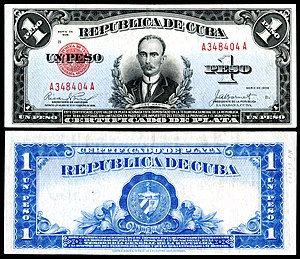 Martí depicted on a República de Cuba one peso silver certificate (1936)