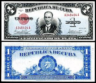 Cuban peso - República de Cuba, one silver peso (1936)