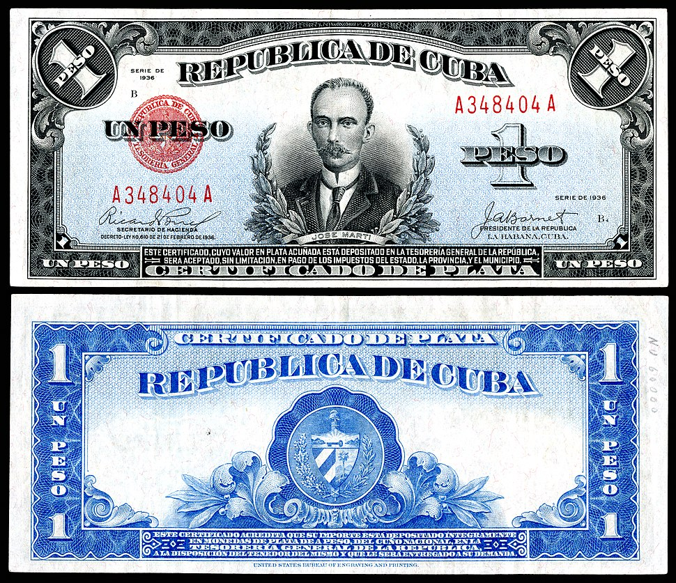 CUB-69b-Rep%C3%BAblica de Cuba-one silver peso (1936)