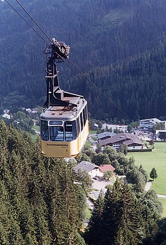 Cable transport - Cable car at Zell am See in the Austrian Alps