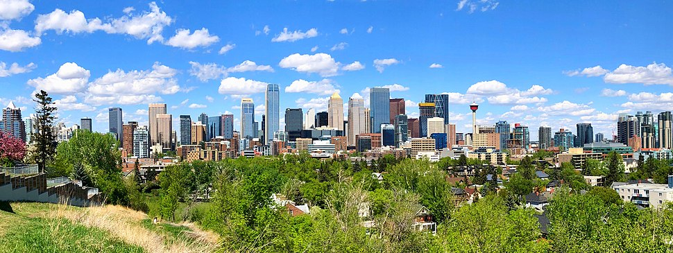 Photo of Downtown Calgary skyline in May 2018.