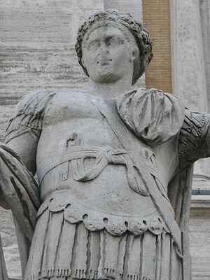 Constantine II (emperor) - Statue of Emperor Constantine II as caesar on top of the Cordonata (the monumental ladder climbing up to Piazza del Campidoglio), in Rome.