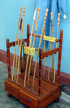 Caning - A display of rattan judicial canes from the Johor Bahru Prison museum, Malaysia.