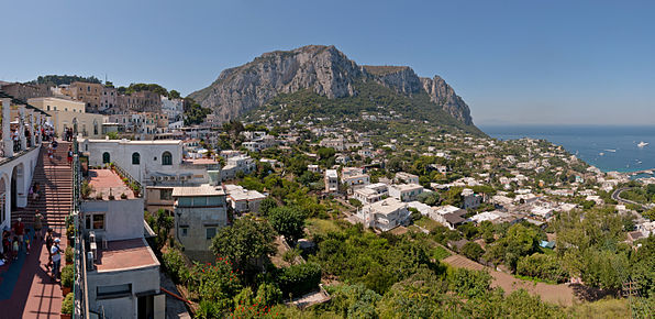 Panoramic view from Capri Centre Belvedere, on Capri Island, Italy.
