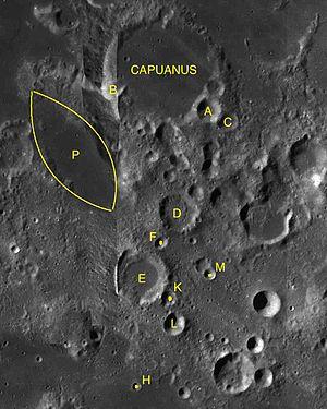 Capuanus (crater) - Capuanus and its satellite craters
