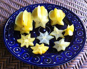 Carambola - Sliced carambolas having 7, 6, and the usual 5 points