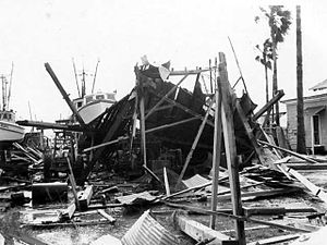 Hurricane Carla - A house destroyed by Hurricane Carla in Port O'Connor, Texas