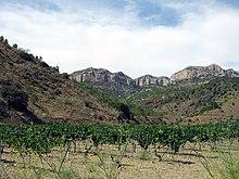Weinanbaugebiet Priorart in Spanien. Karge hügelige Region.
