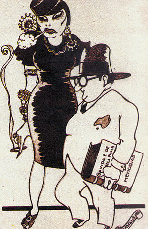 Eugênia Álvaro Moreyra - The Moreyra couple, in a caricature of Brazilian artist Alvarus (1920).