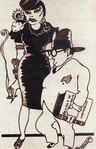 Eugênia Álvaro Moreyra - The Moreyra couple, in a caricature of Brazilian artist Alvarus (1920).
