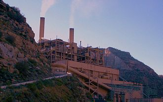 Fossil fuel phase-out - Coal-fired power plants provided 30% of consumed electricity in the United States in 2016. This is the Castle Gate Plant near Helper, Utah.