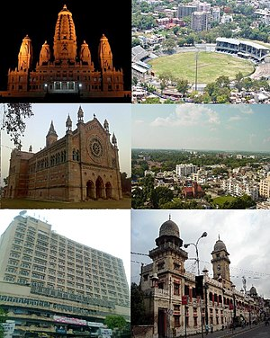 Kanpur - Clockwise from top right: Green Park Stadium; Civil Lines district; Kanpur Police headquarters; Landmark Hotel; Kanpur Memorial Church; JK Temple