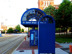 Centre Street station (Baltimore Light Rail) - Centre Street station in May 2005